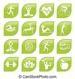 Green sport Fitness icons buttons.