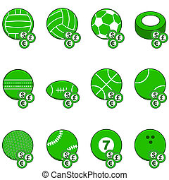 Green sports betting icons