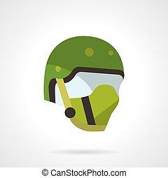Green sports helmet vector icon