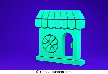 Green Sports shop and basketball ball icon isolated on blue background. Sport store. Minimalism concept. 3d illustration 3D render