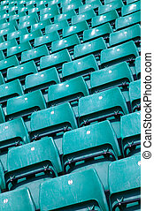 Green sports stadium seats