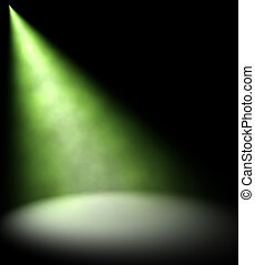 Green spot Light Beam on dark background