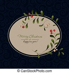 Green sprig with red berries frame