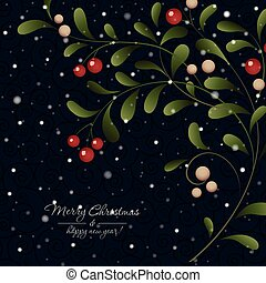 Green sprig with red berries on dark background