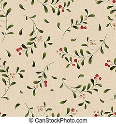 Green sprig with red berries seamless background