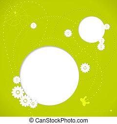 Green spring background with white flowers