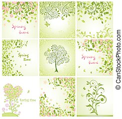 Green spring decorative floral cards