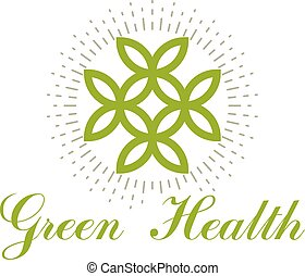 Green spring leaves vector symbol for use in medical and social theme advertisement. Wellness and harmony symbolic emblem. The flower of life.