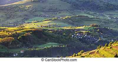 Green spring rural hill landscape, Slovakia