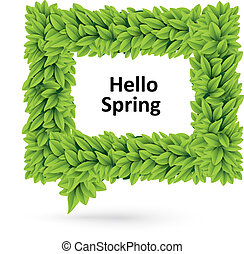 Green spring speech bubble of leaves