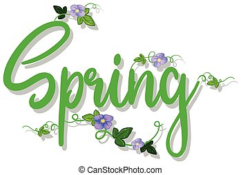 green spring text with flowers