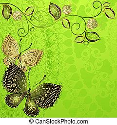 Green spring vintage floral frame