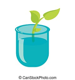 Green sprout in a glass with water icon
