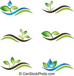 Green Sprout Landscape Icon or Logo Design Set
