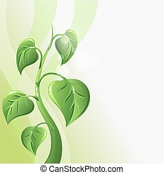 Green sprout with leaves and copyspace for your text.