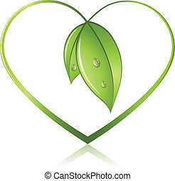 Green sprouts in shape of heart isolated on white...