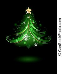 Abstract green fir tree with white snowflakes on a black background