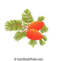 Green spruce branch with two cones. Isolated on white vector illustration