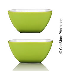 Green square bowl or cup isolated on white with clipping path included