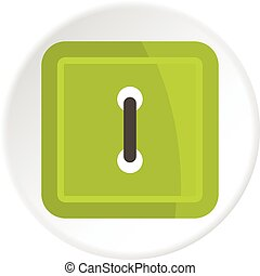 Green square clothing button icon circle