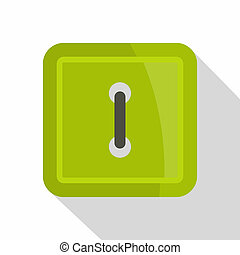 Green square clothing button icon, flat style