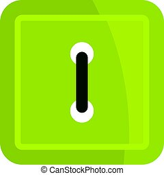 Green square clothing button icon isolated