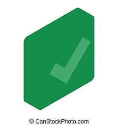Green square element icon, isometric 3d style