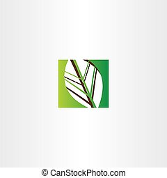green square leaf vector icon