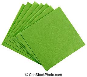 Green square paper serviette (tissue), isolated on white