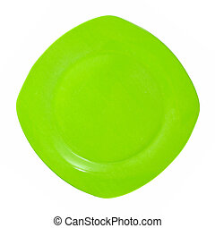 Green square plate isolated on white background