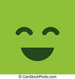 Green square smiley button. Positive emotion and satisfaction sign.