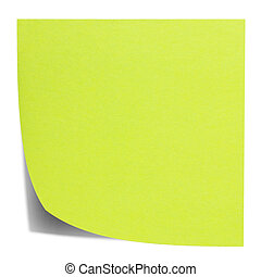 Green square sticky note, and shadow