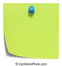 Green square sticky note, with a blue pin, isolated on white background and with shadow