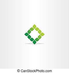 green square vector leaf logo icon