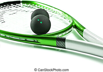 Green squash racket with balls on white background with ...