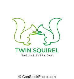 Green Squirrel logo design template