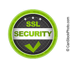 SSL Security - Green SSL Security Button on white background...