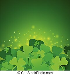 Green St. Patrick`s day background with clover