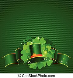 Green St. Patrick's day background with hat and clover