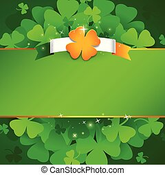 Green St. Patrick`s day background with irish flag and lucky...