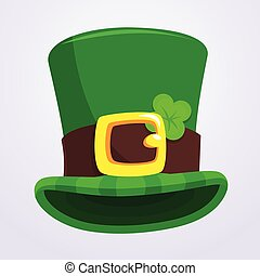 Green St. Patrick's Day hat with four-leaf clover isolated on white background