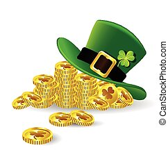 Green St. Patrick's Day hat with shamrock on gold coin on ...