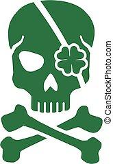 Green St. Patrick's Day skull