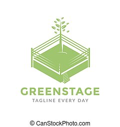 Green stage logo design template
