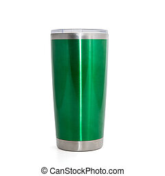 green stainless steel cup, thermos tumbler mug isolated on white background