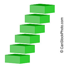 Green stairs or staircase, isolated on white background.