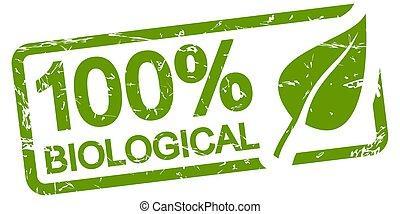 green stamp 100% BIOLOGICAL - green grunge stamp with frame,...