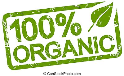 green stamp with text 100% organic