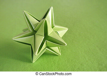 Green star origami - Green star shaped abstract origami