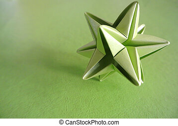 Green star origami